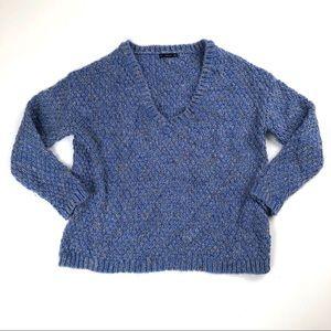 Zara blue crochet v neck knit draped sweater